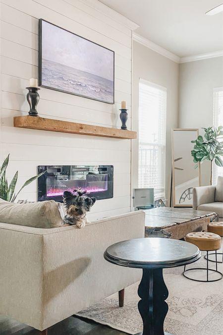 Faux electric shiplap fireplace. Samsung tv frame. The frame. Living room decor. Ruggable. Washable rug.    http://liketk.it/39b8b #liketkit @liketoknow.it #LTKhome #StayHomeWithLTK @liketoknow.it.home