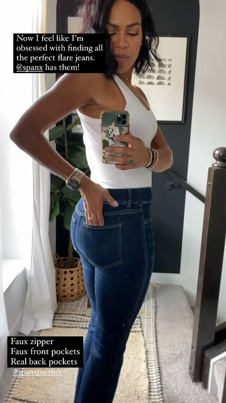 Spanx flares and bodysuit tank! Use my code for 10% off ANNAGXSPANX
