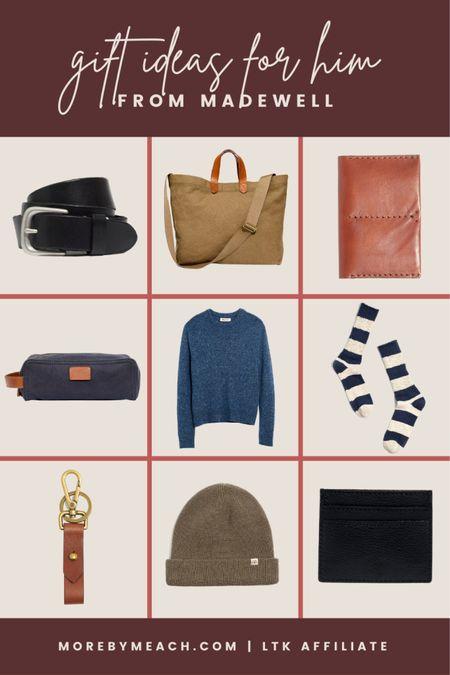 Some gift ideas for him from Madewell: men's canvas travel bag, leather passport holder, men's canvas toiletry bag, men's cozy socks, men's crew neck sweaters, men's slim wallets, men's beanies  #LTKSale #LTKHoliday #LTKGifts