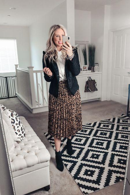Tweed jacket on sale for $15! ❤️ so fun with this ruffled collar shirt! M in both! Small leopard pleated midi skirt!   @liketoknow.it #liketkit http://liketk.it/2Yrxq #LTKworkwear #LTKunder50 #LTKstyletip
