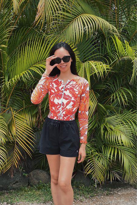 Long sleeve swim, rash guard, swimsuit, vacation look, vacation outfit, bikini, travel look, summer travel outfit, long sleeve swimsuit, one piece swim, hawaii look, hawaii outfit, everlane look, everlane outfit,   #LTKtravel #LTKswim #LTKfit