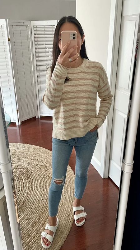 Sharing a few #nsale reviews on the blog including this stripe sweater (size XS). 👉🏻 https://www.whatjesswore.com/2021/07/longchamp-mini-le-pliage-canvas-backpack-review-a-few-nsale-reviews.html    #LTKsalealert #LTKstyletip #LTKunder100