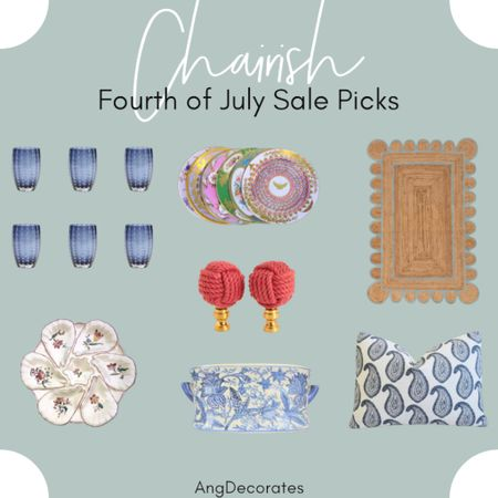 Chairish Sale Picks: blue glassware, vintage oyster plate, blue and white pottery, and a scalloped rug  #LTKsalealert #LTKhome