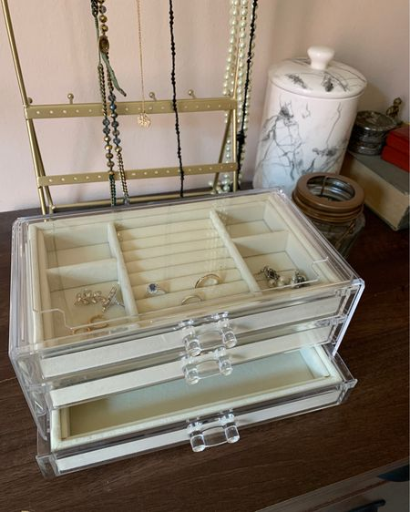 As featured on my latest TikTok, this Amazon jewelry organizer is the best for storing earrings, bracelets, and some necklaces away from pesky pets! My cats love to knock over my jewelry.   Click here to buy: http://liketk.it/2SpSG  #amazon #amazonprime Follow me on the LIKEtoKNOW.it shopping app to get the product details for this look and others   #liketkit @liketoknow.it #LTKunder50 #LTKhome
