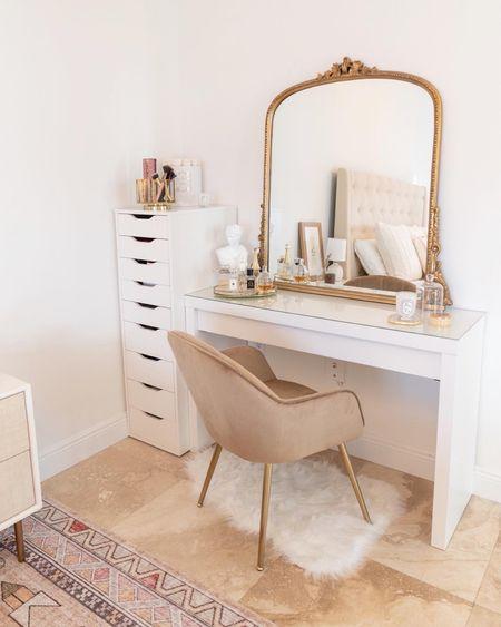 My vanity decor! Absolutely love this gold vintage mirror, velvet chair, white vanity table and decor    #LTKhome #LTKsalealert #LTKstyletip