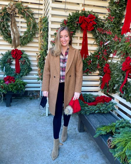 Christmas wreath and tree shopping! Love this flannel from Madewell and my J.Crew coat. Booties are a must too! http://liketk.it/33gu5 #liketkit @liketoknow.it #LTKunder100 #LTKshoecrush #LTKworkwear