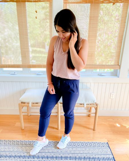 """These joggers are still on sale and my favorite ever! I have them in 3 colors and wear them all the time. They are comfortable, mom friendly, and true to size. Check out stories for the fit. Another new favorite are these """"ice cream"""" sneakers, head to stories for the details on that. The perfect pastels, true to size, and under $80. @liketoknow.it #liketkit http://liketk.it/3g1JS #LTKsalealert #LTKunder100 #LTKshoecrush Shop my daily looks by following me on the LIKEtoKNOW.it shopping app"""