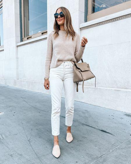 Fashion Jackson, spring outfit, jenni kayne sweater (JACKSON15 discount), white jeans, beige mules, spring shoes http://liketk.it/3c4I3 #liketkit @liketoknow.it #LTKstyletip #LTKunder100 #LTKunder50