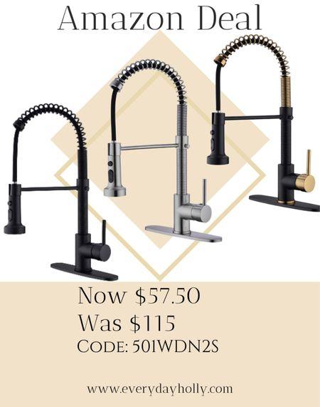 Amazon Deal! Commercial kitchen pull out faucet- 3 color options  Amazing reviews Home remodel • farmhouse • modern farmhouse • kitchen sink   #LTKunder100 #LTKsalealert #LTKhome