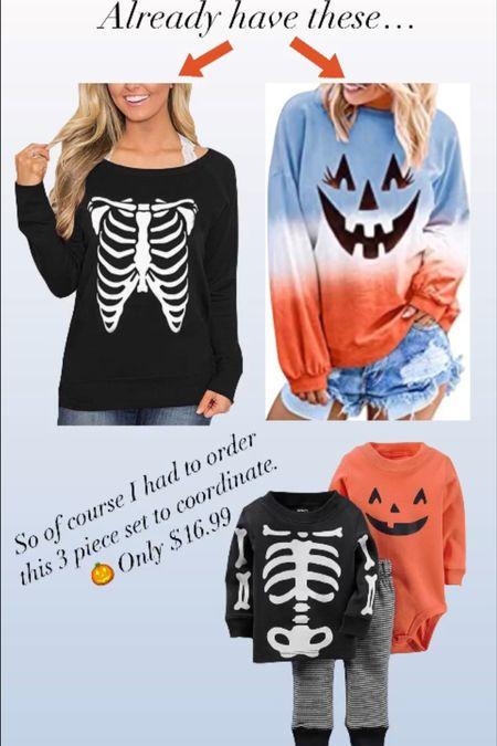 Matching Halloween outfits #ltkfall Skeleton sweatshirt  Pumpkin sweatshirt   #LTKbaby #LTKSeasonal #LTKfamily