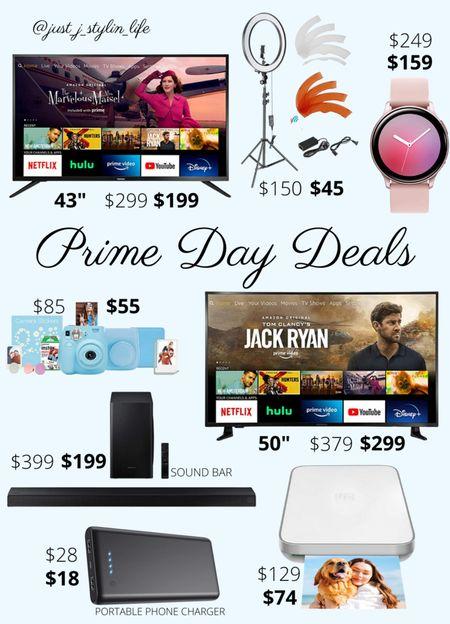 Amazon Prime Day deals - Home. Amazon finds. HD TV, Amazon Fire TV, ring light, Samsung smart watch, Fujifilm instant camera, living room sound bar, photo printer, portable phone charger. Found on Amazon, Amazon Prime, Amazon deals. http://liketk.it/3i5IZ @liketoknow.it #liketkit #LTKsalealert #LTKunder100 #LTKhome #LTKfamily
