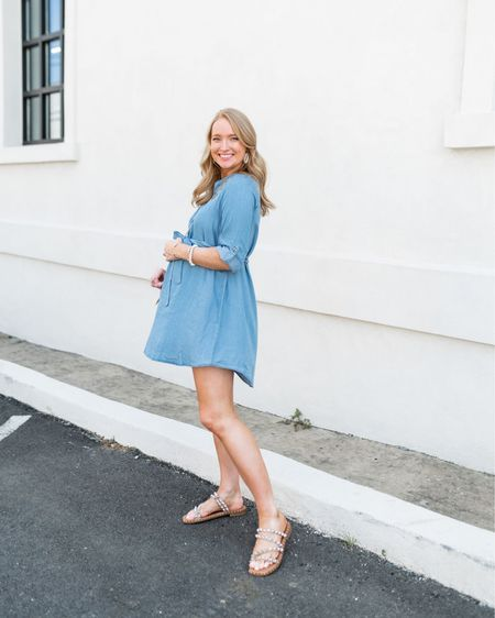Chambray dress // Steve Madden sandals   Wearing a medium and it runs on the short side! http://liketk.it/3hd8W #liketkit @liketoknow.it #LTKbump #LTKunder100
