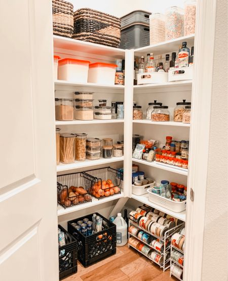 Pantry organization- the items we used from Amazon and The Container store to organize our pantry!    Having an organized pantry is so helpful - I enjoy going into the pantry now and can find things SO much quicker!           Pantry organization, pantry organizers, pantry decor, home decor, baskets, storage baskets, amazon finds, amazon home, the container store, Rubbermaid, pantry storage, home organization, home decor, kitchen decor, #ltkstyletip   #LTKunder50 #LTKhome #LTKfamily #LTKunder50 #LTKstyletip #LTKhome