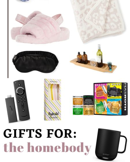 HOMEBODY GIFT GUIDE: + ugg slippers + Peter Thomas Roth face masks  + coffee cup warmer + brumate  + slip sleep eye mask + barefoot dreams blanket, UO dupe + Capri blue candle, nest candle  + glass straws + amazon fire stick + bathtub caddy + robe  http://liketk.it/31YIL #liketkit @liketoknow.it