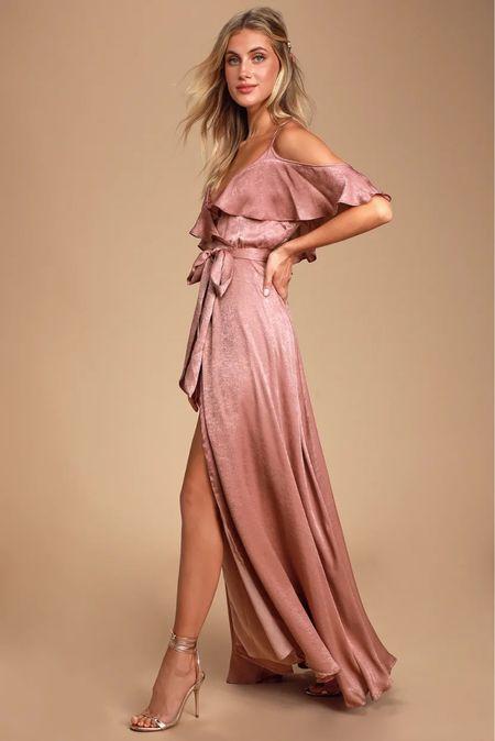 Blush rose mauve satin maxi spaghetti strap cold shoulder dress with slit  Engagement session dress Wedding guest dress  #LTKwedding #LTKunder100