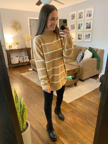 Target sweater, striped sweater, black Chelsea boots   #LTKsalealert #LTKSeasonal #LTKshoecrush