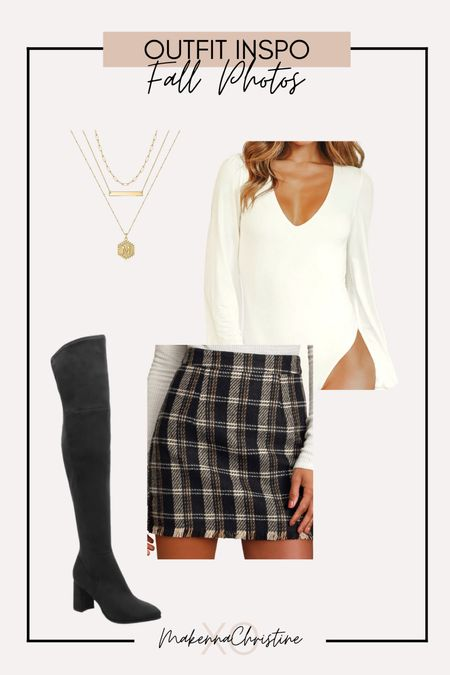 Fall photos outfit ideas! Plaid mini skirt and over the knee boots  #LTKHoliday #LTKSeasonal