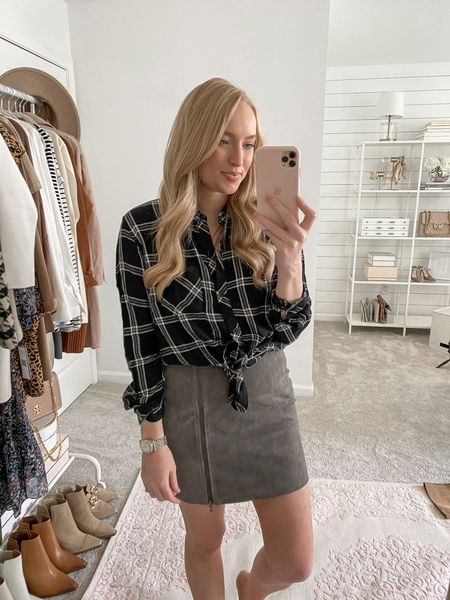 Sized up two sizes to a large in this plaid button down in the Nordstrom Anniversary Sale