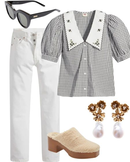 Outfit of the Day! #collaredshirt #sherpaclogs #clogs #shacket #nordstrom #earrings #statementearrings #whitejeans #pilgrimshirt #collar