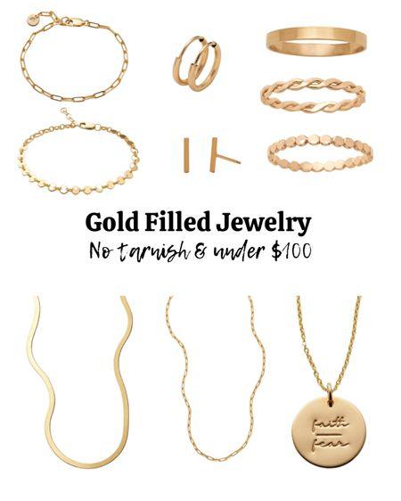 Gold filled jewelry, tarnish free jewelry, gold necklace, gold earrings, gold bracelet.   #LTKbacktoschool #LTKstyletip #LTKunder100