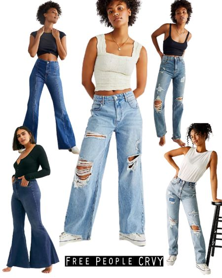 New CRVY jean styles at Free People.   Make it your go to shop for curvy jeans.   #crvy #freepeople #jeans #denim #rippedjeans  #LTKcurves #LTKstyletip #LTKeurope