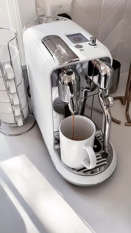 Coffee bar, espresso machine, kitchen accessories, kitchen essentials, neutral home decor, simple home decor, white kitchen, StylinAylinHome   #LTKhome #LTKunder100 #LTKstyletip