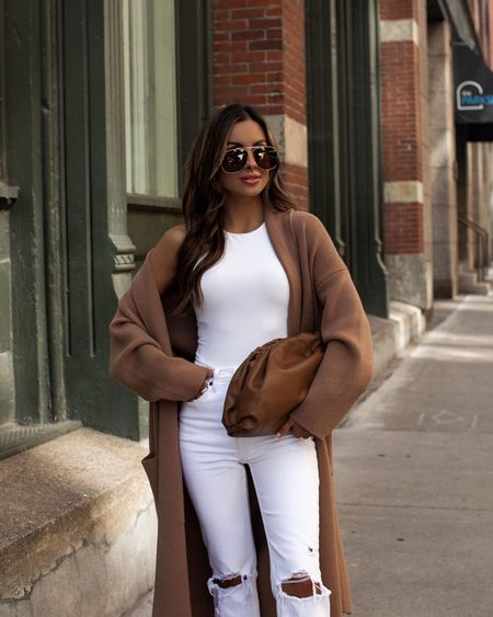 Fall camel coatigan  Express white bodysuit  Abercrombie white denim  Golden Goose leopard sneakers  Fendi sunglasses from Cettire    #LTKstyletip #LTKunder100 #LTKSeasonal