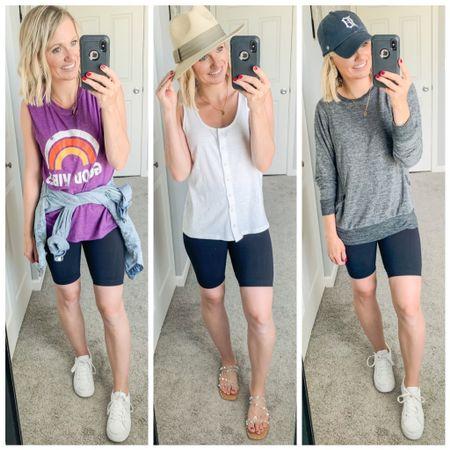 Biker shorts outfit ideas. Amazon finds. http://liketk.it/3jCFx #liketkit @liketoknow.it #LTKsalealert #LTKunder50 #LTKstyletip