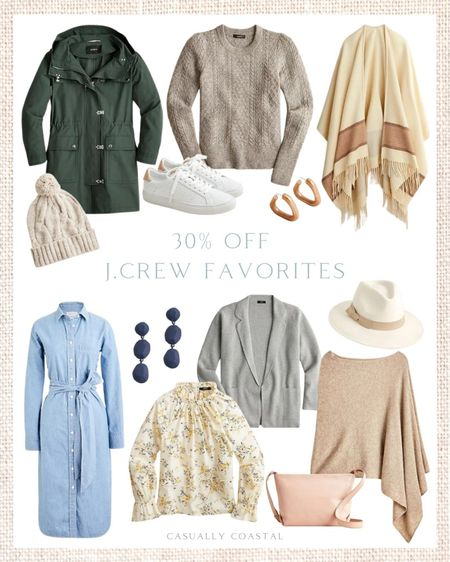 Many pieces at J.Crew are 30% off right now with code SALEONSALE, including sweaters, and outerwear. I've rounded up some of my favorites, but I'm loving the soft neutrals and this pine-colored utility jacket (I linked the natural color as well, which is so pretty!).    - fall fashion, fall shoes, white leather sneakers, J.Crew, J.Crew Sale, fall sweaters, cardigans, fall sweaters, blouses for work, blouses with ruffles, tops with ruffles, jewelry, accessories, earrings, puff sleeve blouses, fall dresses, rain coat, drop earrings, fall utility jacket, shirtdress, chambray shirtdress, sweater blazer, tops for work, jackets for work, poplin tops, sweater ponchos, fall ponchos, cable-knit beanie, cable-knit hat, sow hat, warm hat, hat with pom pom, leather crossbody bag, neutral crossbody, fall hats, western hats, cashmere poncho, cashmere sweaters, floral blouses, cable-knit sweaters    #LTKsalealert #LTKworkwear #LTKunder100