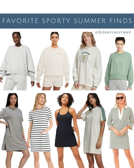 {Favorite Sporty Summer Finds } Brought the exercise dress and ruffled polo on our trip and have loved both! If you're looking for an oversized sweatshirt to wear with biker shorts/shorts, I picked up the first one and it's perfectly oversized! More favorites linked than shown here! To shop, click the link in my profile or you can shop by screenshot in the @liketoknow.it app! #liketkit #LTKstyletip #LTKunder100 #LTKfit http://liketk.it/3hFDH