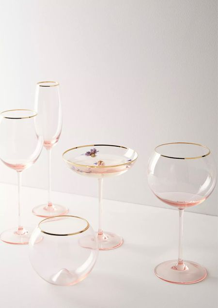 Beautiful pink ombré glass sets over at Antheopoloy💗💗Perfect for the hostess with the mostest #glasswear #homedecor #pink #feminine #glassset #home    #LTKunder100 #LTKhome #LTKunder50