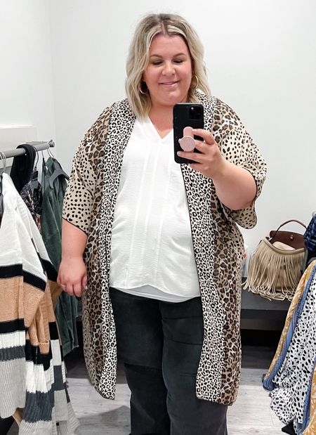 This plus size leopard kimono would be so cute over a plus size graphic tee or plus size t-shirt dress! It's a great layering piece for any plus size fall outfit!   #LTKcurves #LTKunder100 #LTKSeasonal
