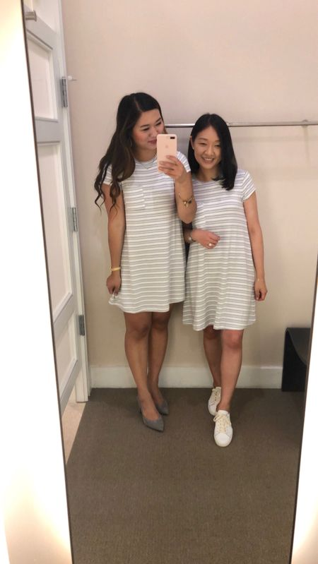 """Dress on Sandy and myself in size XS regular. Yes, we tried on the same size. ☺️ For size reference, Sandy is pear shaped and she's 5'4"""", 150 pounds and she is usually size small regular in tops and size 28/6 regular in bottoms. I have minimal curves and I'm 5'2.5"""", 108 pounds and I am usually size XSP in tops and 25/0P in bottoms. @liketoknow.it http://liketk.it/2wByU #liketkit #LTKsalealert #LTKshoecrush #LTKunder50 #LTKunder100"""