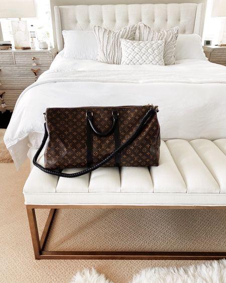 Weekend bag, Louis Vuitton duffle bag, master bedroom decor, master bedroom inspiration. #StylinbyAylin #StylinAylinHome  #LTKhome #LTKitbag #LTKstyletip