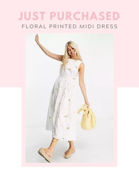 Just purchased: ASOS DESIGN cotton tiered midi dress with floral embroidery in white, casual outfit, spring / summer, budget friendly, comfy clothes, cover up, travel, farmers market outfit, maxi dress, little white dress, on sale now, under $50   #LTKunder100 #LTKSale #LTKunder50