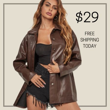Button front faux leather jacket   #LTKunder100 #LTKstyletip #LTKunder50