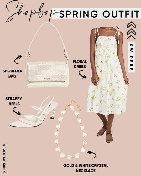 Shopbop Spring Outfit with Floral Dress and Accessories - Use code STYLE http://liketk.it/3cRDj #liketkit @liketoknow.it #LTKsalealert #LTKstyletip #LTKshoecrush