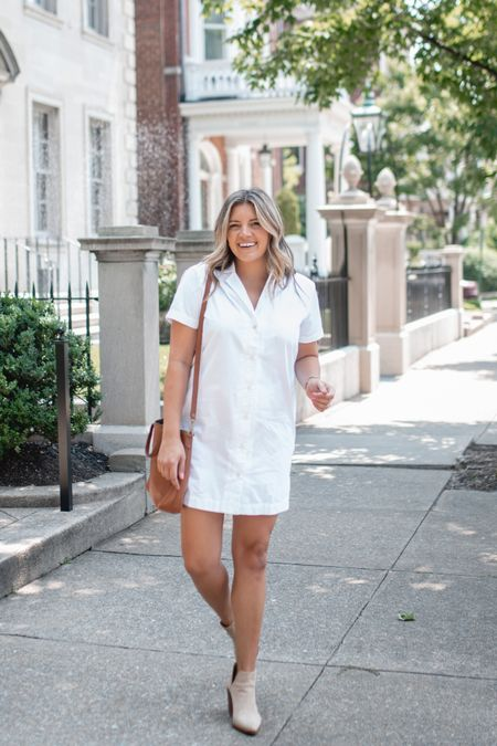 New @walmartfashion summer to fall outfit finds! White shirt dress fits tts. Also linking suede booties and bag! @walmart #walmart #walmartfashion   #LTKstyletip #LTKunder100 #LTKunder50