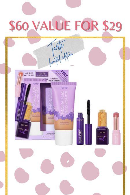 Tarts limited edition - Maracuja tinted hydrator, lights camera lashes mascara, maracuja oil, maracuja juicy lip in shade rose   #LTKtravel #LTKunder50 #LTKbeauty