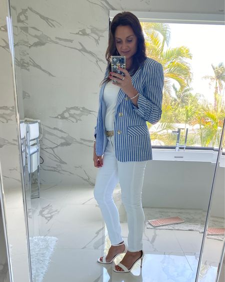 Summer work wear style Striped blazer  White denim jeans   http://liketk.it/3hWdz @liketoknow.it #liketkit #LTKworkwear #LTKunder100 #LTKstyletip