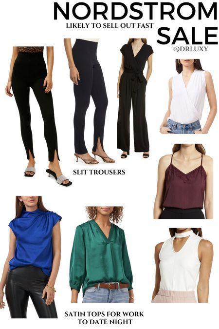 Nordstrom Anniversary Sale  #nsale Workwear  Slit pants  Satin tops  Work tops  Work pants     #LTKworkwear #LTKunder50 #LTKsalealert