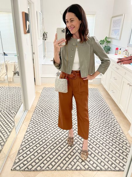 Pants - @sezane trousers size up or true to size  Shoes - Sam Edelman (old) Jacket - found on consignment  Bag - Clare V   #LTKHoliday #LTKSeasonal #LTKstyletip