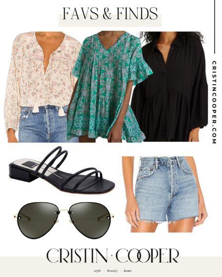 Favs & Finds // top // sandals // sunglasses // Jean shorts http://liketk.it/3gl2b #liketkit @liketoknow.it