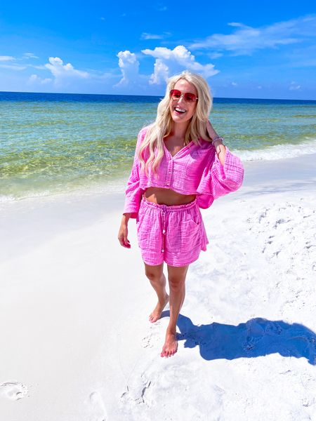 Pink two Piece set size M  Swimsuit coverup  Beach outfit, lounge set  Pink sunglasses Follow my shop on the @shop.LTK app to shop this post and get my exclusive app-only content!    #LTKunder100 #LTKtravel #LTKSeasonal