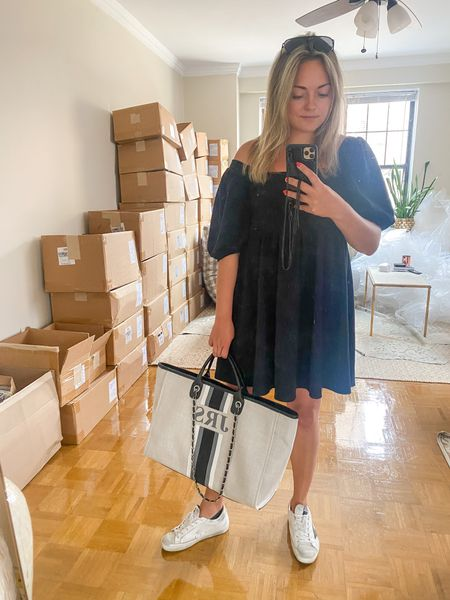 Easy look for running errands! Affordable babydoll dress, Golden Goode sneakers, and a monogrammed tote.   #LTKSeasonal #LTKshoecrush #LTKitbag