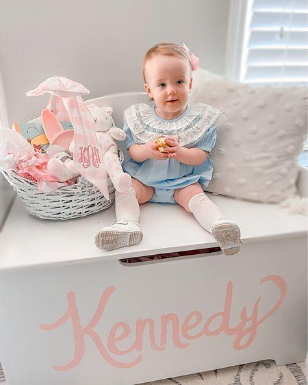 Baby girl Easter outfit, Easter Basket, Basket Bow http://liketk.it/3avzK @liketoknow.it #liketkit #LTKbaby #LTKfamily #LTKunder50