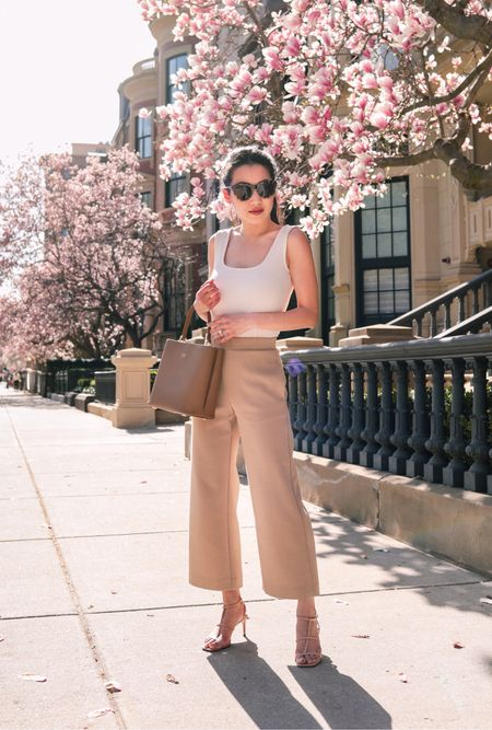 Sale Alert: 50% off + free ship at Ann Taylor // shared some petite friendly sale picks on the blog including this spring outfit for WFH or the office. White square neck tank xxs, camel cropped wide leg pants xxs petite, tortoise shell J.Crew sunglasses, the daily edited bucket bag, similar strappy nude sandals  #LTKsalealert #LTKworkwear #LTKunder50
