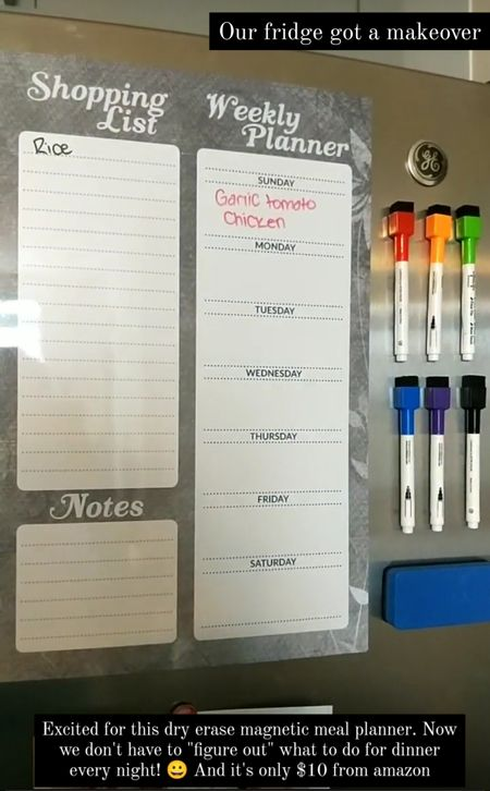 Magnetic dry erase meal planner for your fridge. Plan out meals for the week and write your grocery list. Large size and comes with magnetic markers and an eraser all for only $10! http://liketk.it/3jsyr @liketoknow.it #liketkit #LTKunder50 #LTKhome #LTKfamily