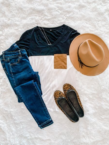 Color block tee, fedora hat, American Eagle jeggings, leopard flats, mama necklace  #LTKunder50 #LTKstyletip