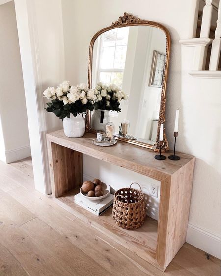 Home decor, console table style, Anthropologie mirror, candle sticks, candles, #StylinAylinHome  #LTKhome #LTKunder100 #LTKstyletip